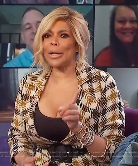 Wendy's check trench coat on The Wendy Williams Show