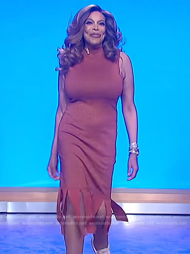 Wendy's brown fringe hem dress on The Wendy Williams Show