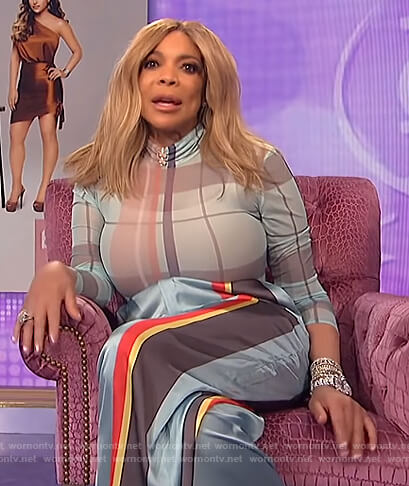 Wendy's plaid bodysuit and stripe pants on The Wendy Williams Show