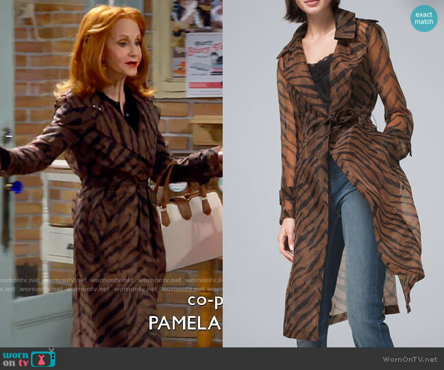 White House Black Market Organza Tiger Print Trench Coat worn by Sheila (Swoosie Kurtz) on Call Me Kat