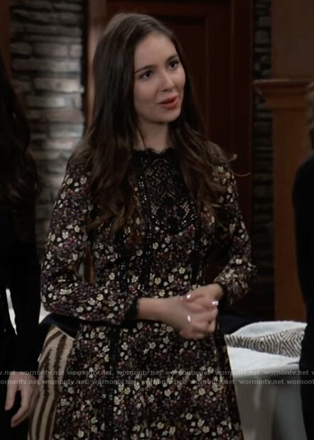 Molly's black floral lace inset dress on General Hospital