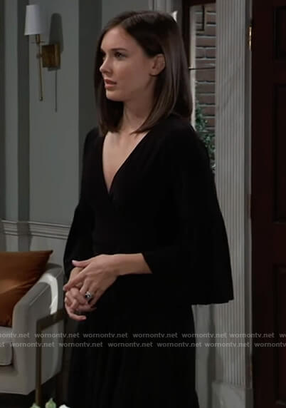 Willow's black bell sleeve wrap dress on General Hospital