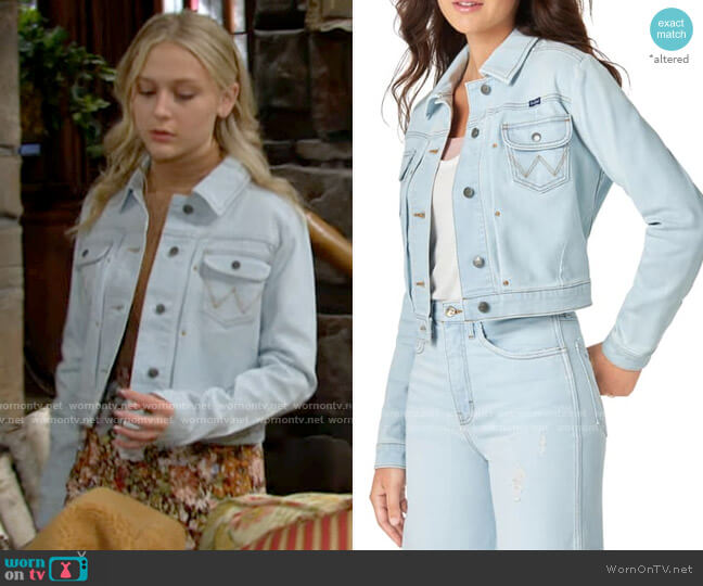 Wrangler Pleat Crop Denim Jacket worn by Faith Newman (Alyvia Alyn Lind) on The Young & the Restless
