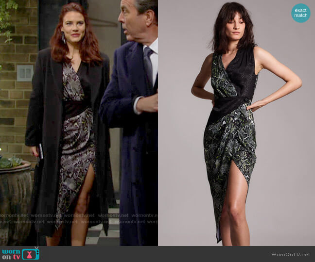 Yigal Azrouel Cross Front Geometric Mid-Piece Dress worn by Sally Spectra (Courtney Hope) on The Young & the Restless