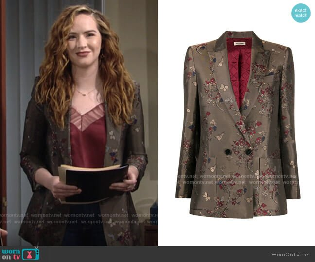 Zadig & Voltaire Visko Blossom Jacquard Blazer worn by Mariah Copeland (Camryn Grimes) on The Young & the Restless