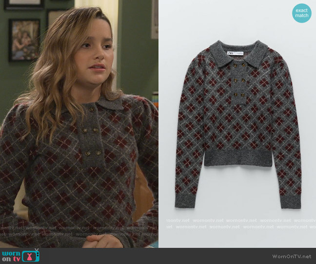 Argyle Knit Sweater by Zara worn by Lex (Jules LeBlanc) on Side Hustle