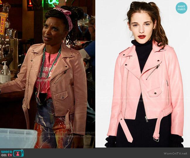 Leather Effect Jacket by Zara worn by Veronica Fisher (Shanola Hampton) on Shameless
