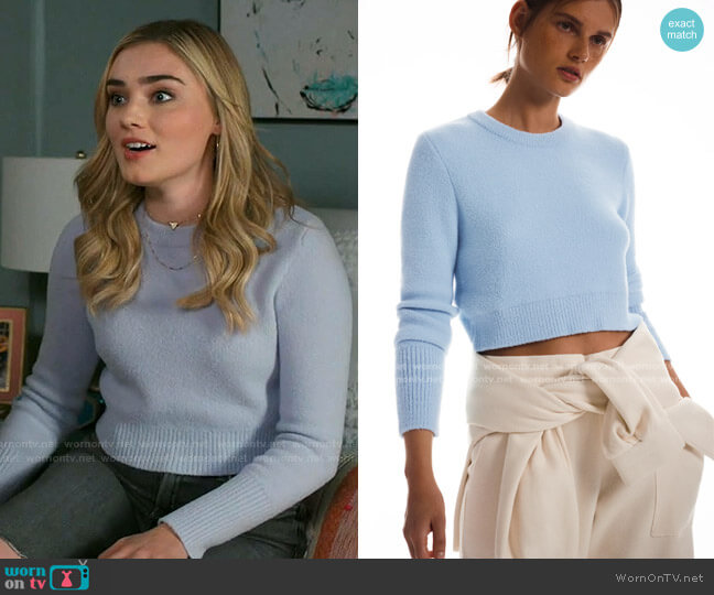 Soft Feel Cropped Sweater by Zara worn by Taylor Otto (Meg Donnelly) on American Housewife