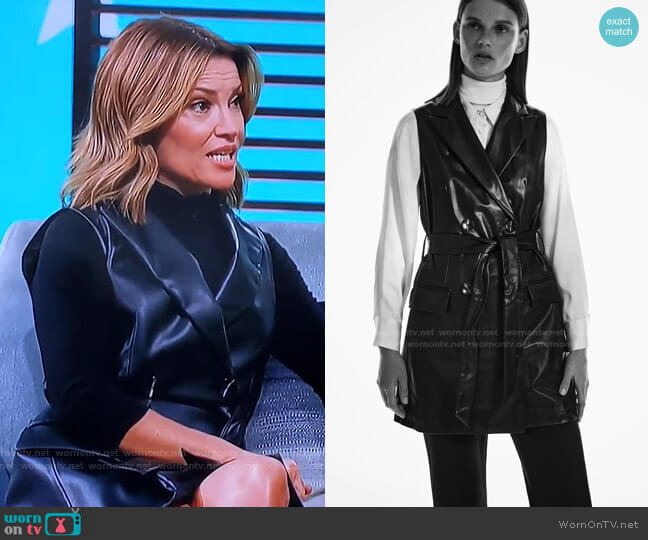 Faux Leather Vest by Zara worn by Kit Hoover  on Access Hollywood