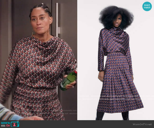 Printed Top and Skirt by Zara worn by Rainbow Johnson (Tracee Ellis Ross) on Blackish