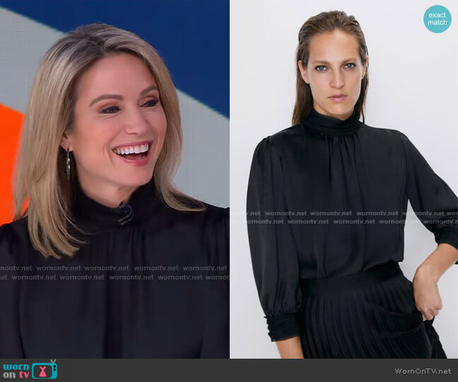 High Neck Blouse by Zara worn by Amy Robach  on Good Morning America