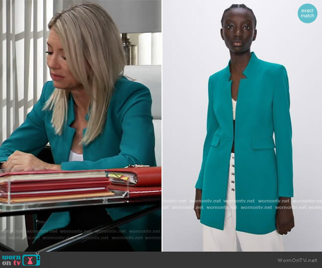 Inverted Lapel Coat by Zara worn by Nina Reeves (Cynthia Watros) on General Hospital