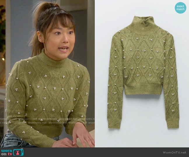 Zara Knit Sweater with Pearls worn by Jen (Krista Marie Yu) on Last Man Standing