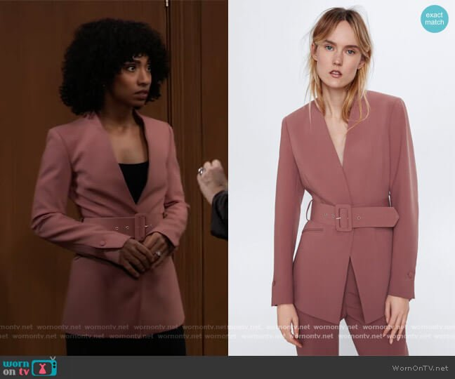 Lapelless Belted Blazer by Zara worn by Jordan Ashford (Tiffany Daniels) on General Hospital