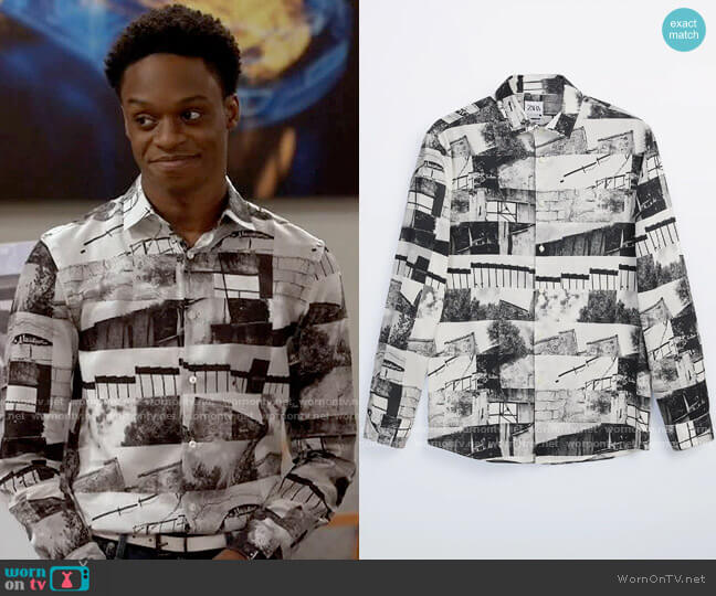 Zara Printed Photograph Shirt worn by Lane (Austin Crute) on Call Your Mother