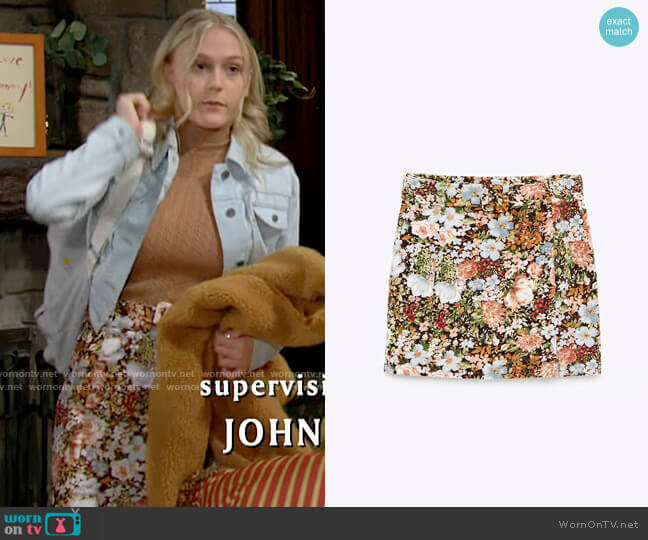 Zara Printed Velvet Skirt worn by Faith Newman (Alyvia Alyn Lind) on The Young & the Restless