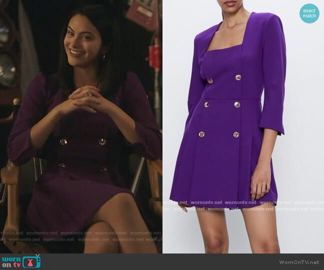 Double Breasted Dress by Zara worn by Veronica Lodge (Camila Mendes) on Riverdale