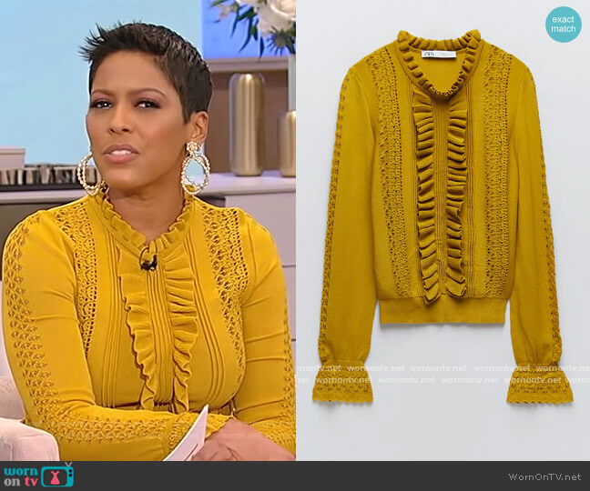 Ruffle Knit Sweater by Zara worn by Tamron Hall  on Tamron Hall Show