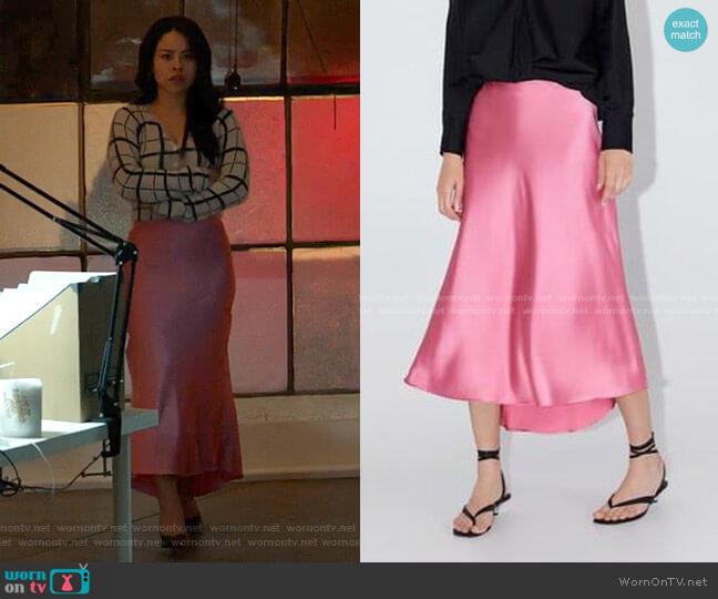 Satin Finish Skirt by Zara worn by Mariana Foster (Cierra Ramirez) on Good Trouble