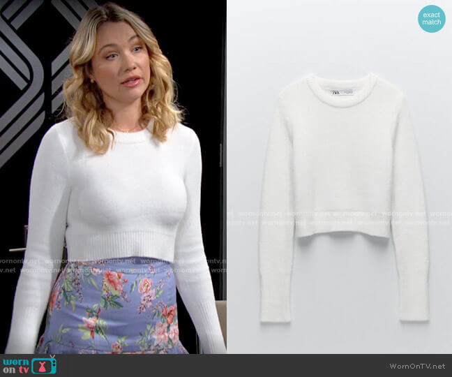 Zara Soft Feel Cropped Sweater worn by Flo Fulton (Katrina Bowden) on The Bold & the Beautiful