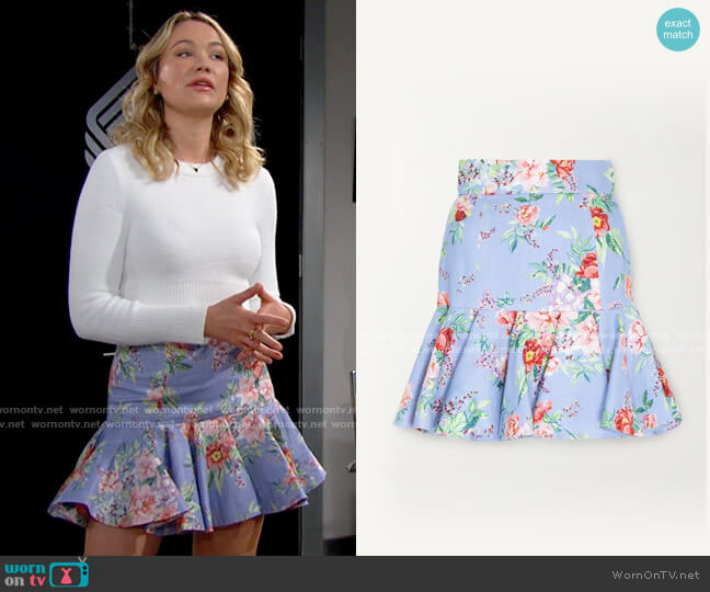 Zimmermann Bellitude fluted floral-print linen mini skirt worn by Flo Fulton (Katrina Bowden) on The Bold & the Beautiful