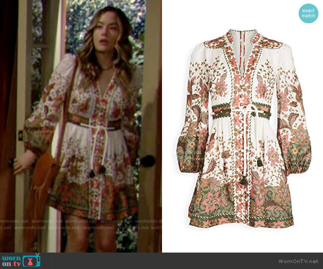 Zimmermann Empire Batik Linen Short Dress worn by Hope Logan (Annika Noelle) on The Bold & the Beautiful
