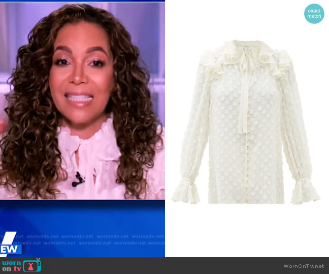 Polka-dot Flounced-georgette Blouse by Zimmermann worn by Sunny Hostin  on The View