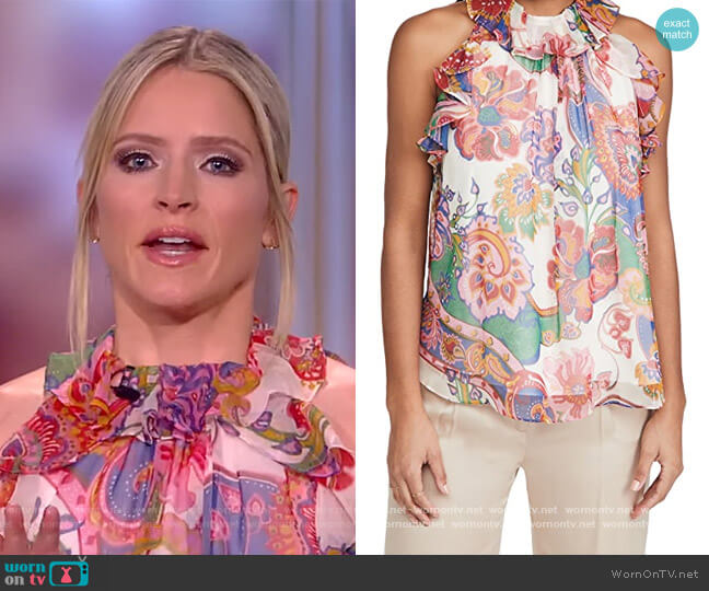 The Lovestruck Floral Chiffon Tank by Zimmermann worn by Sara Haines  on The View