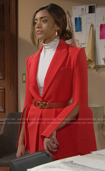 Zoe's red bell sleeve blazer on The Bold and the Beautiful