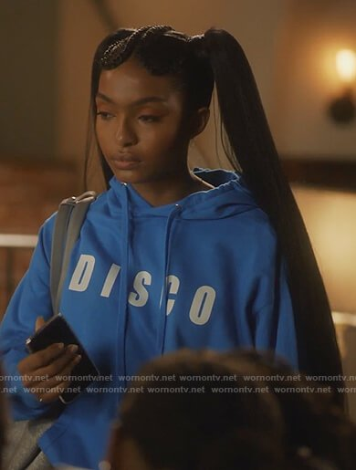 Zoey's blue Disco hoodie on Grown-ish