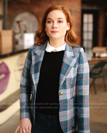 Zoey's blue plaid blazer on Zoeys Extraordinary Playlist