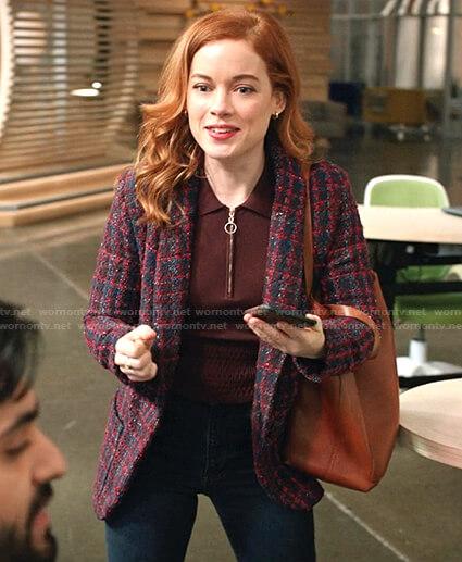 Zoey's brown zip neck polo sweater and tweed blazer on Zoeys Extraordinary Playlist
