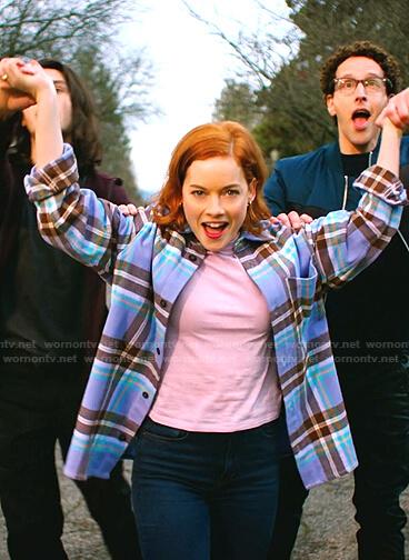 Zoey's purple plaid oversized shirt on Zoeys Extraordinary Playlist
