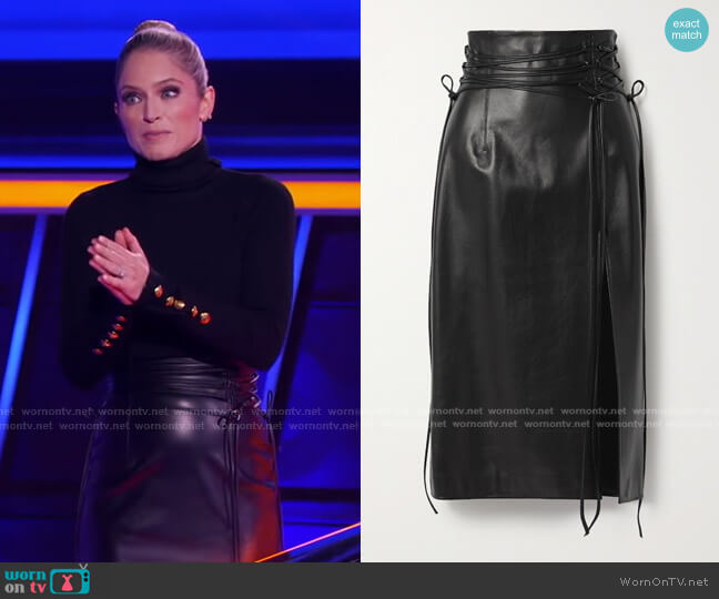 Lucerne Leather Midi Skirt by 16Arlington worn by Sara Haines  on The Chase