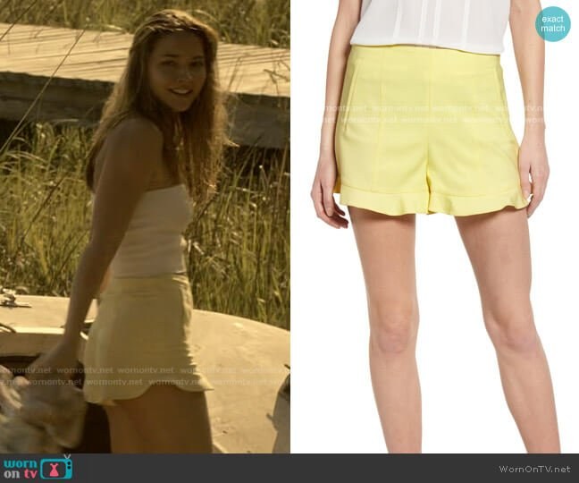 1.State Ruffle Hem Shorts worn by Sarah Cameron (Madelyn Cline) on Outer Banks