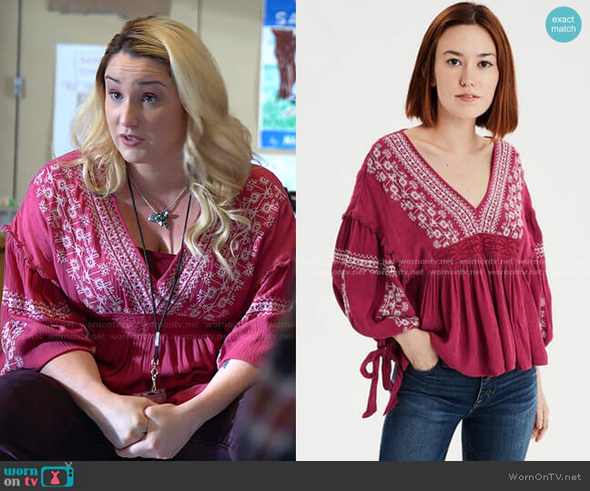 Long Sleeve Embroidered Peasant Top by American Eagle worn by Davia (Emma Hunton) on Good Trouble