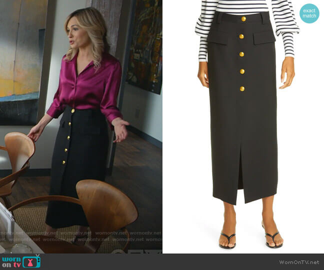 Holmes Button Front Skirt by A.L.C. worn by Amy Quinn (Lindsey Gort) on All Rise