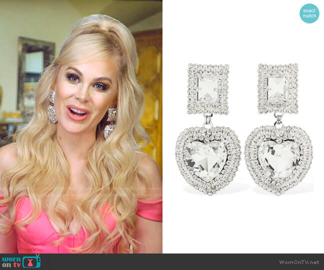 Crystal Heart Clip On Earrings by Alessandra Rich worn by Kameron Westcott  on The Real Housewives of Dallas