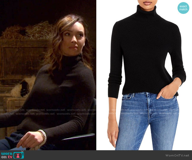Cashmere Turtleneck Sweater by AQUA Cashmere worn by Gwen Rizczech (Emily O'Brien) on Days of our Lives