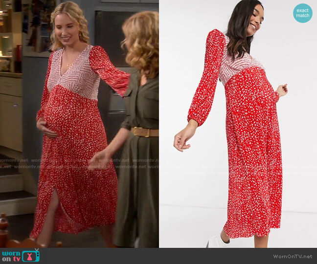 ASOS DESIGN Maternity plisse midi dress in red and white spot worn by Mandy Baxter (Molly McCook) on Last Man Standing