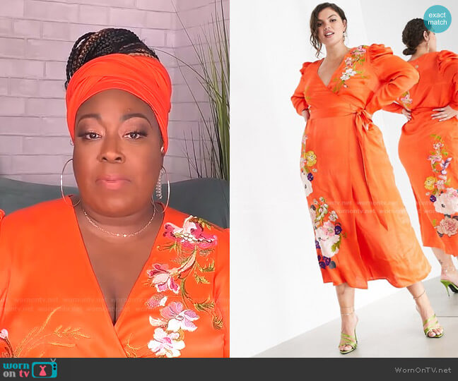 Curve Floral Embroidered Wrap Midi Dress by Asos worn by Loni Love  on The Real