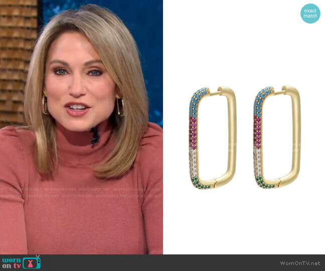 Posh Rectangular Hoops by Accessory Concierge worn by Amy Robach  on Good Morning America