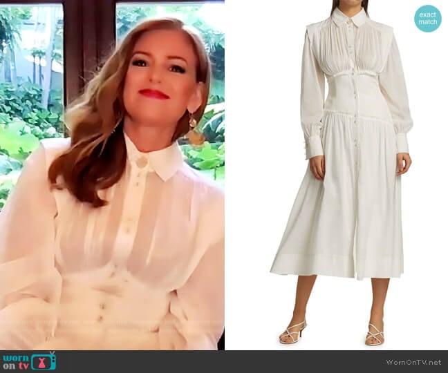 Utopia Long-Sleeve Midi Dress by Aje worn by Isla Fisher on The Drew Barrymore Show
