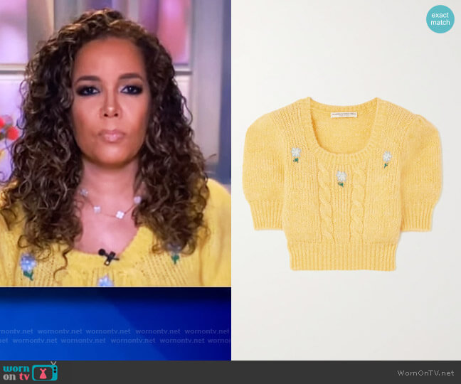 Floral Embroidered Cable Knit Cropped Sweater by Alessandra Rich worn by Sunny Hostin  on The View