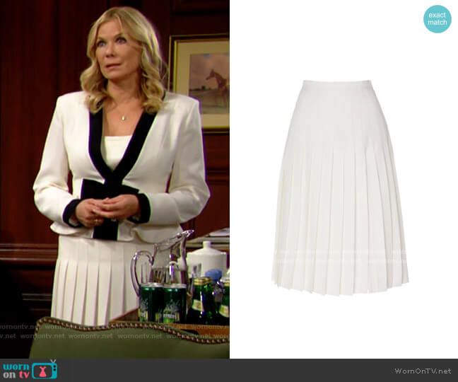 Alessandra Rich Pleated Wool Midi Skirt worn by Brooke Logan (Katherine Kelly Lang) on The Bold & the Beautiful