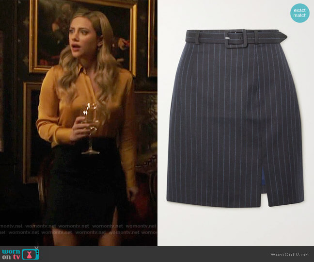 Whatever belted pinstriped wool-blend mini skirt by Alexa Chung worn by Betty Cooper (Lili Reinhart) on Riverdale