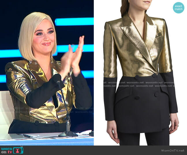 Bicolor Double-Breasted Blazer by Alexander McQueen worn by Katy Perry  on American Idol