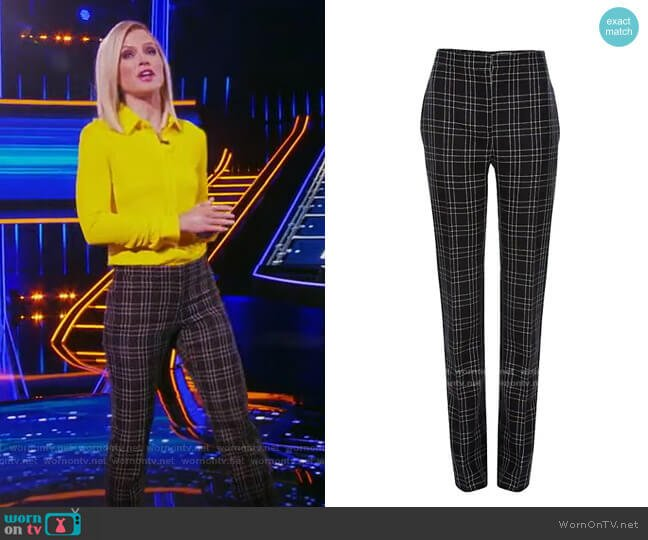 High Waisted Virgin Wool Check Pants by Alexander McQueen worn by Sara Haines  on The Chase