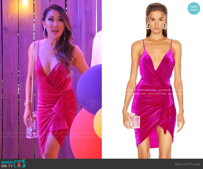 Sleeveless Ruched Velvet Mini Dress by Alexandre Vauthier worn by Tiffany Moon  on The Real Housewives of Dallas