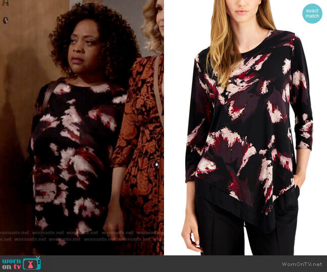 Alfani Abstract-Print Pointed-Hem Top worn by Sharon (Sherri Shepherd) on Call Your Mother